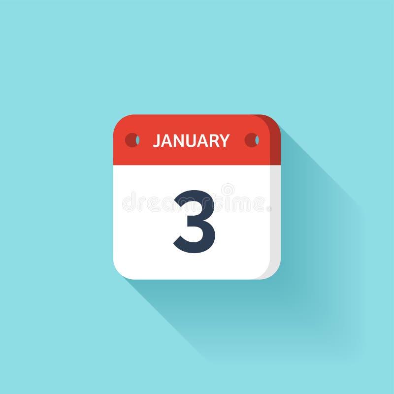 Januari 3 Isometrisk kalendersymbol med skugga Vektorillustration, lägenhetstil Månad och datum söndag måndag, tisdag vektor illustrationer