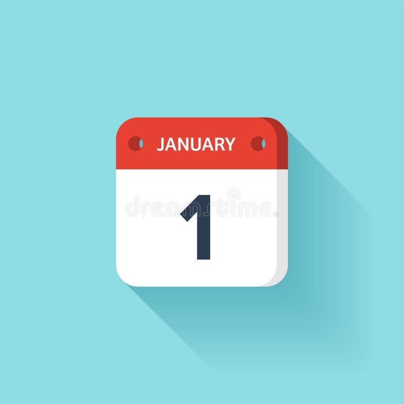 Januari 1 Isometrisk kalendersymbol med skugga Vektorillustration, lägenhetstil Månad och datum söndag måndag, tisdag royaltyfri illustrationer