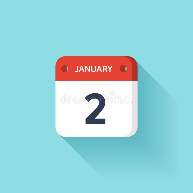 Januari 2 Isometrisk kalendersymbol med skugga Vektorillustration, lägenhetstil Månad och datum söndag måndag, tisdag vektor illustrationer
