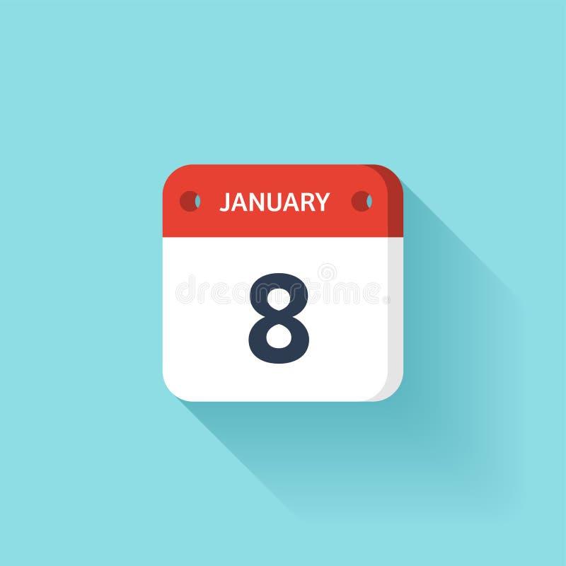 Januari 8 Isometrisk kalendersymbol med skugga Vektorillustration, lägenhetstil Månad och datum söndag måndag, tisdag stock illustrationer