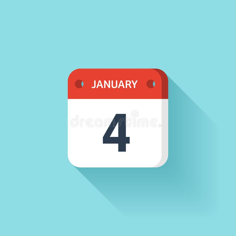 Januari 4 Isometrisk kalendersymbol med skugga Vektorillustration, lägenhetstil Månad och datum söndag måndag, tisdag vektor illustrationer