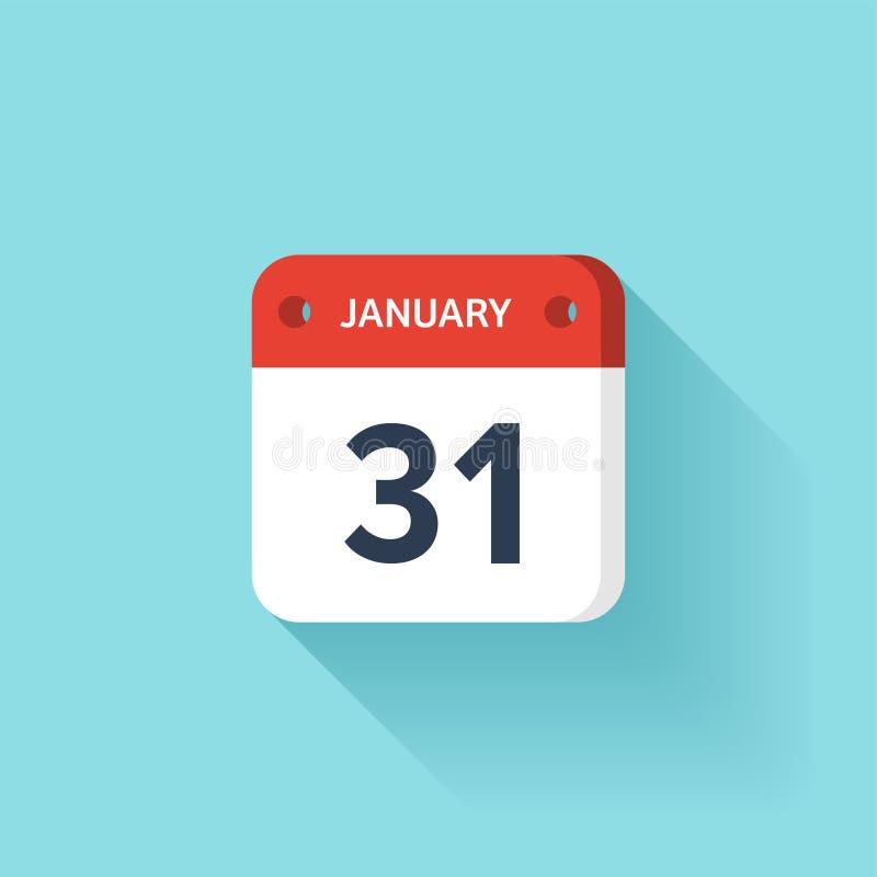 Januari 31 Isometrisk kalendersymbol med skugga Vektorillustration, lägenhetstil Månad och datum söndag måndag, tisdag stock illustrationer