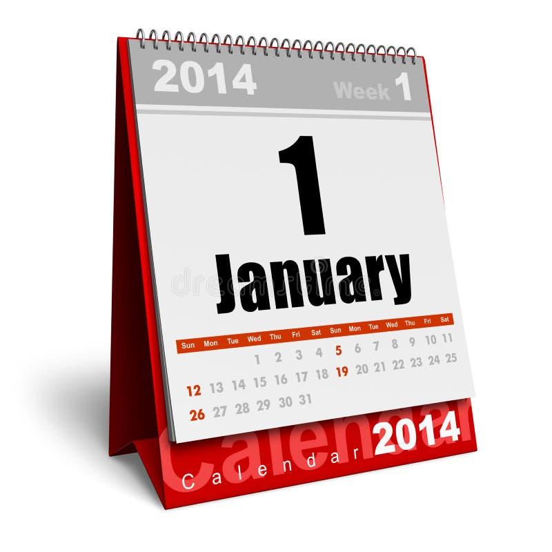 Januari 2014 kalender stock illustrationer