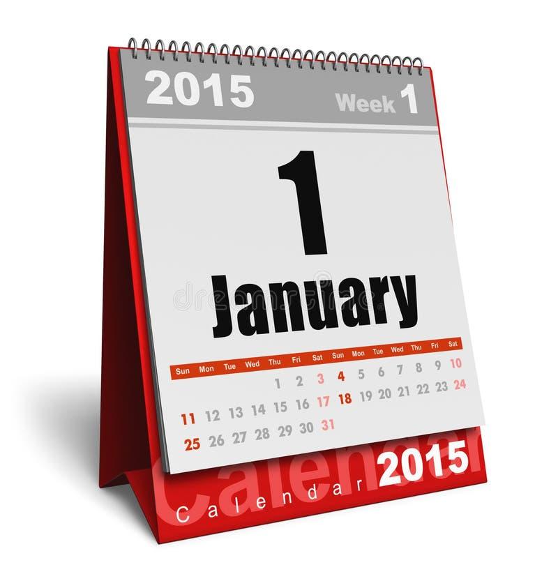 Januari 2015 kalender royaltyfri illustrationer