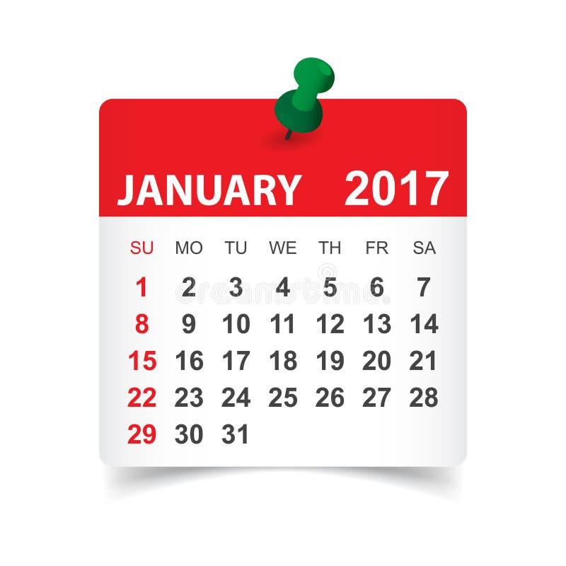 Januari 2017 kalender vektor illustrationer