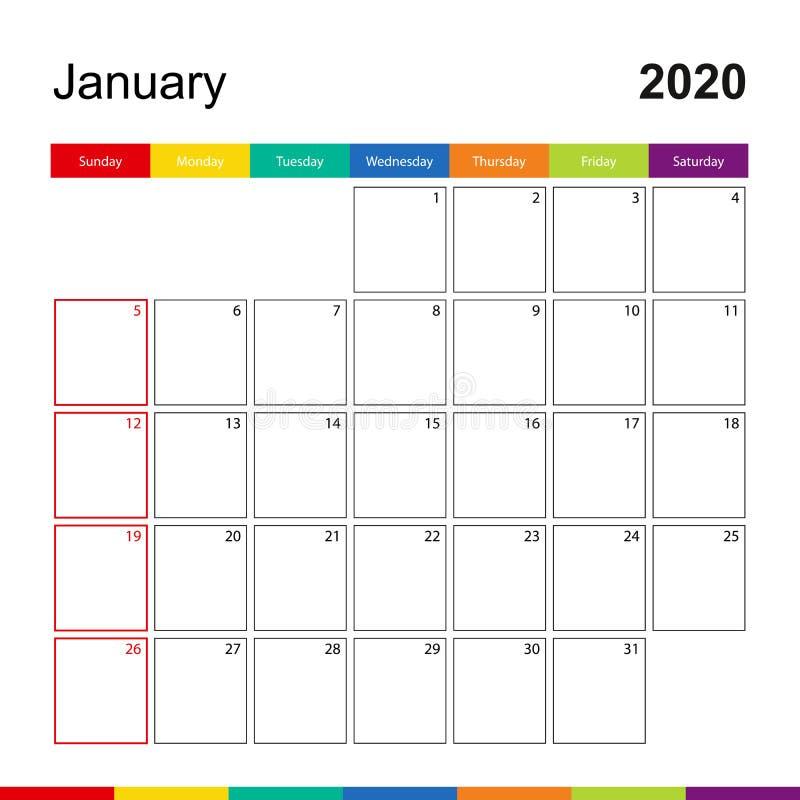 Januari 2020 kleurrijke muurkalender, de week begint op Zondag vector illustratie