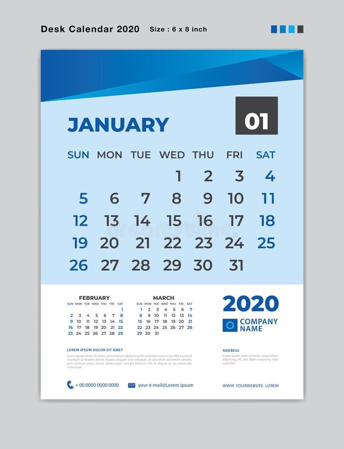 Januari 2020 månadmall, skrivbordkalender för 2020 år, veckastart på söndag, stadsplanerare, brevpapper, blått begrepp arkivfoto