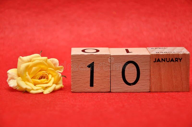 10 Januari op houten blokken met geel nam toe royalty-vrije stock afbeeldingen