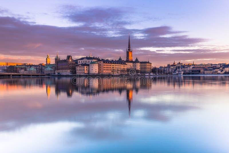 Januari 21, 2017: Panorama av den gamla staden av Stockholm tagen fr royaltyfri fotografi