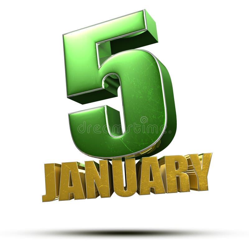 5 januari 3 quinquies royalty-vrije illustratie