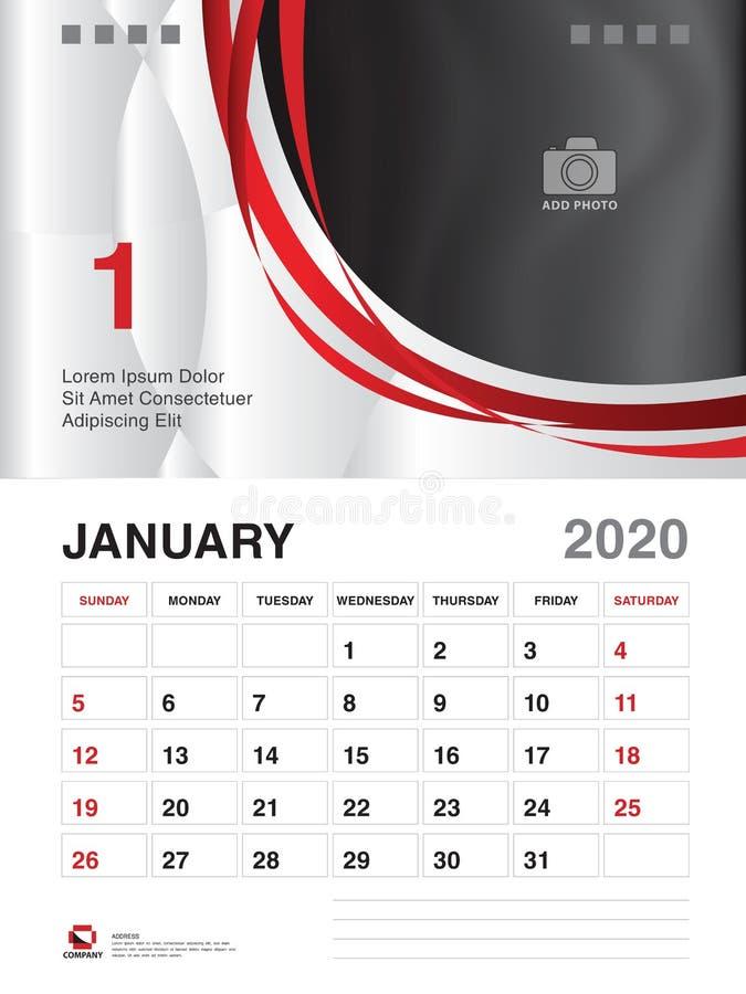 Januari 2020 ?rsmall, kalender2020 vektor, design f?r skrivbordkalender, veckastart p? s?ndag, stadsplanerare, brevpapper som skr stock illustrationer