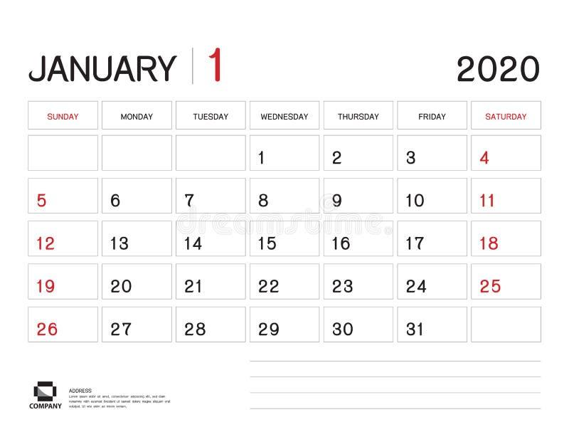 Januari 2020  royaltyfri illustrationer