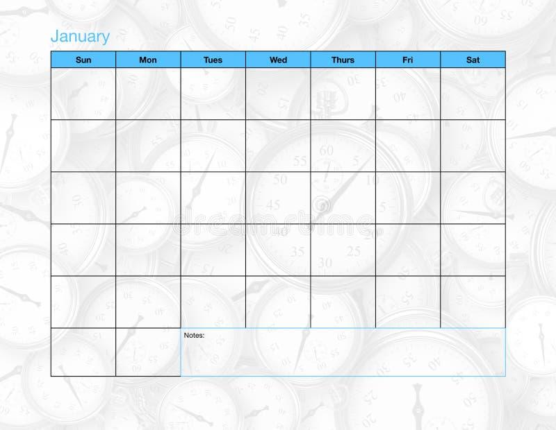Januari tom kalender royaltyfria bilder