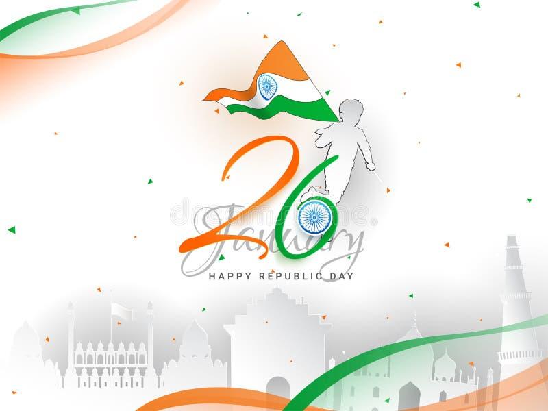 26 Januari-van de de Dagviering van de Republiek de banner of de afficheontwerp, jongen die Nationale vlag en beroemde Indische m royalty-vrije illustratie
