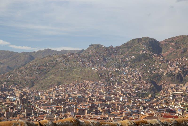 Januari 20, van 2019 Panoramisch satellietbeeld over het belangrijkste vierkant van Cusco & x28; Plaza DE Armas stock afbeeldingen