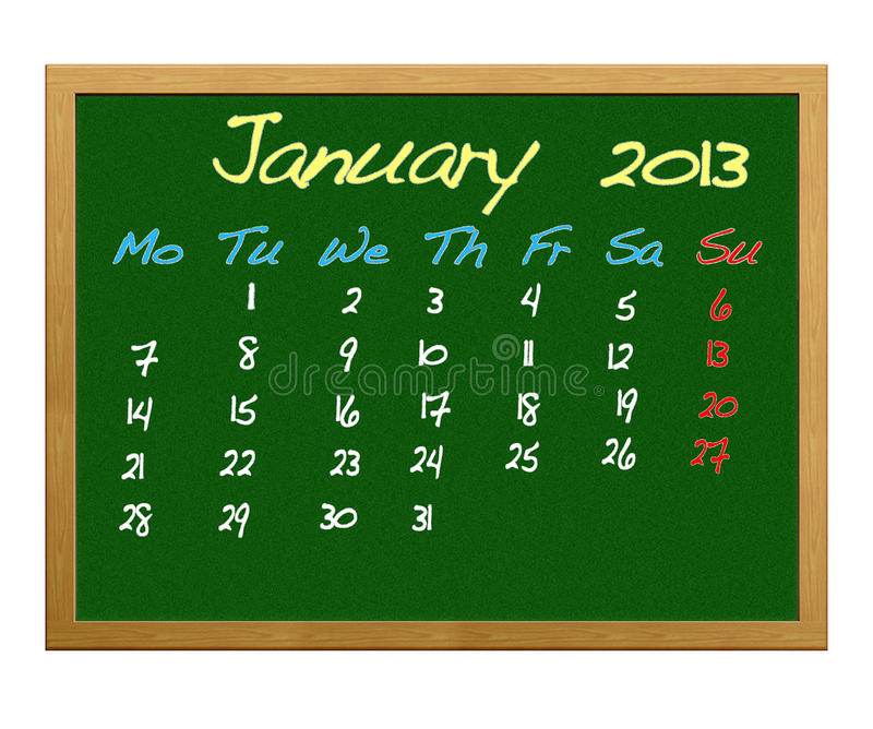 January 2013. Illustration with Calendar 2013, January vector illustration