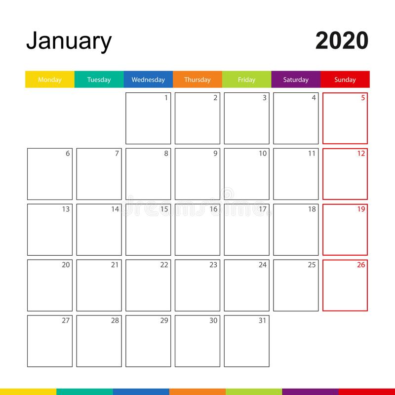 Free January 2020 Colorful Wall Calendar, Week Starts On Monday Royalty Free Stock Images - 163409519