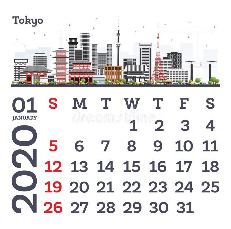 January 2020 Calendar Template with Tokyo City Skyline vector illustration