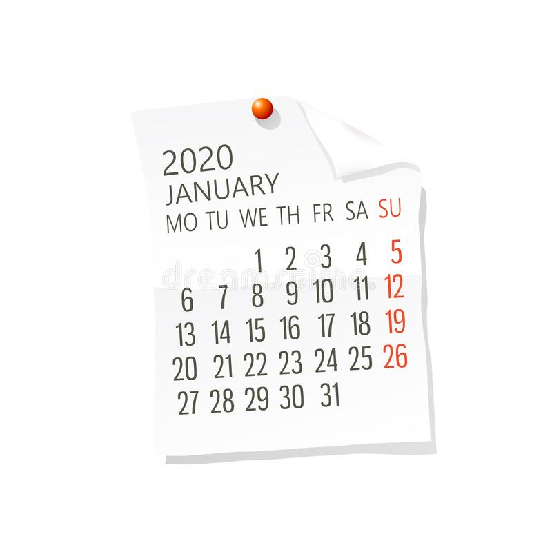 2020 January calendar royalty free illustration