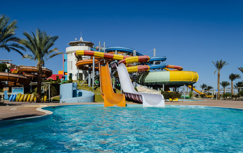 January 2016: Colorful water slides in the water park, Hurghada royalty free stock image