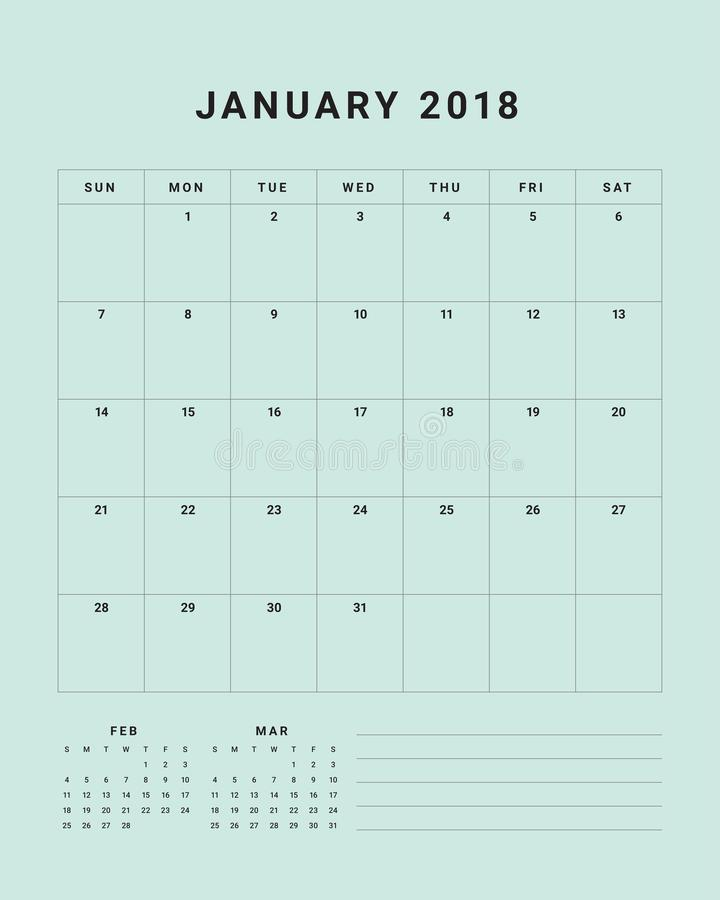 January 2018 Desk Calendar Vector Illustration Stock Vector
