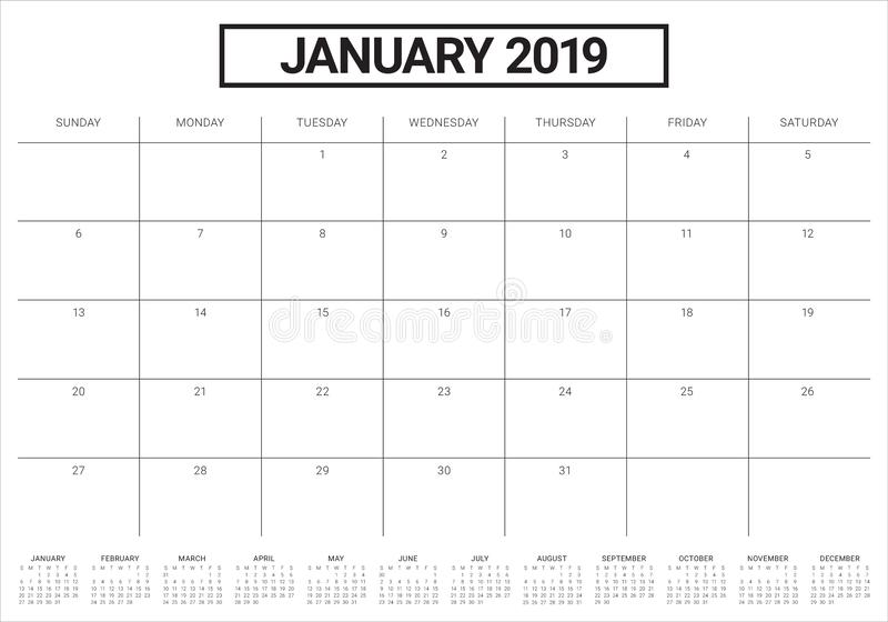 January 2019 desk calendar vector illustration, simple and clean design stock illustration