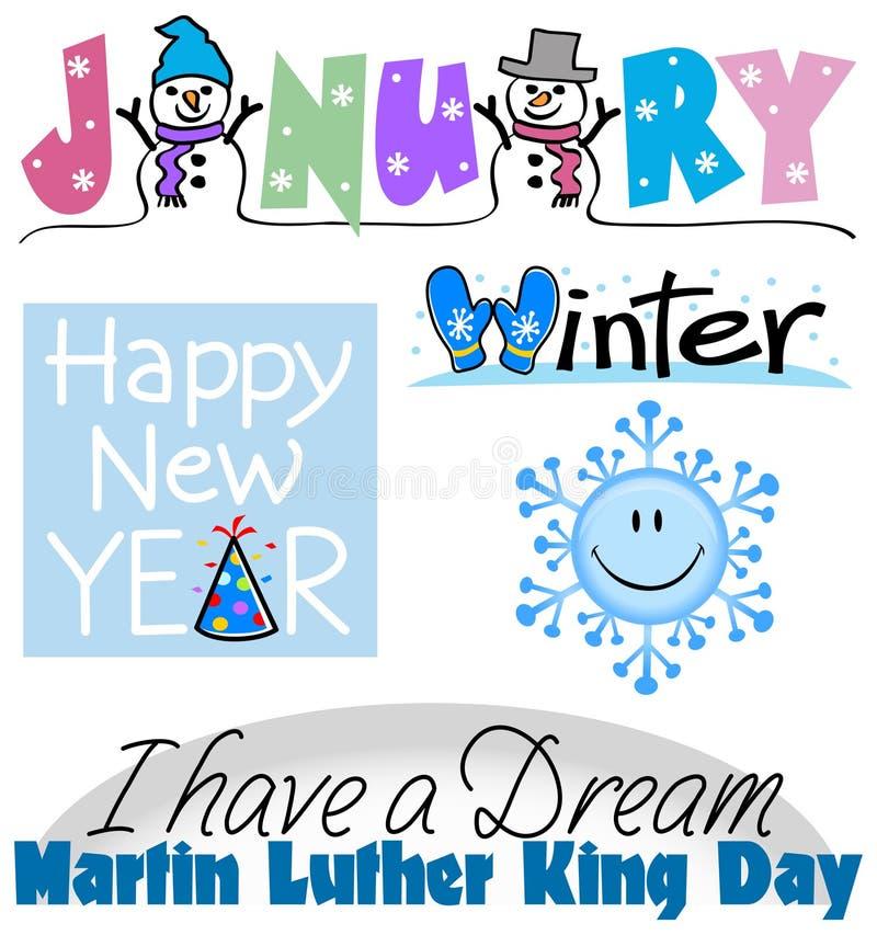 January Events Clip Art Set stock illustration