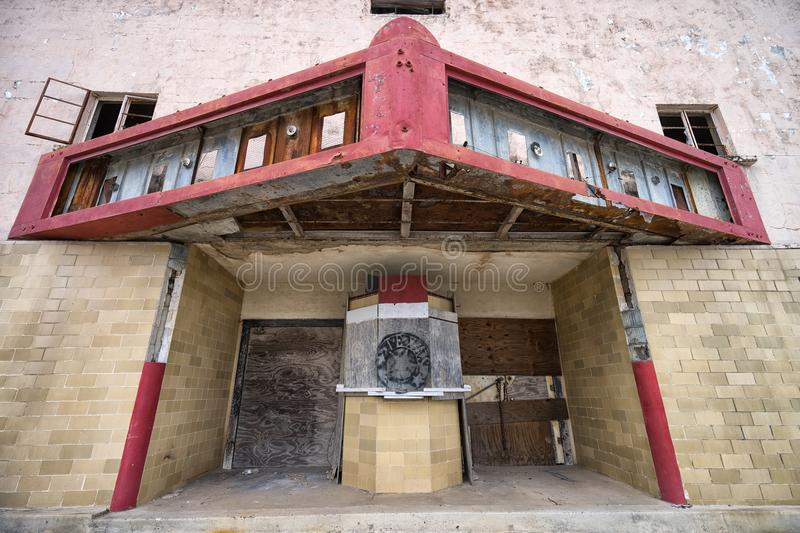 Abandoned theater building in Texas royalty free stock photography