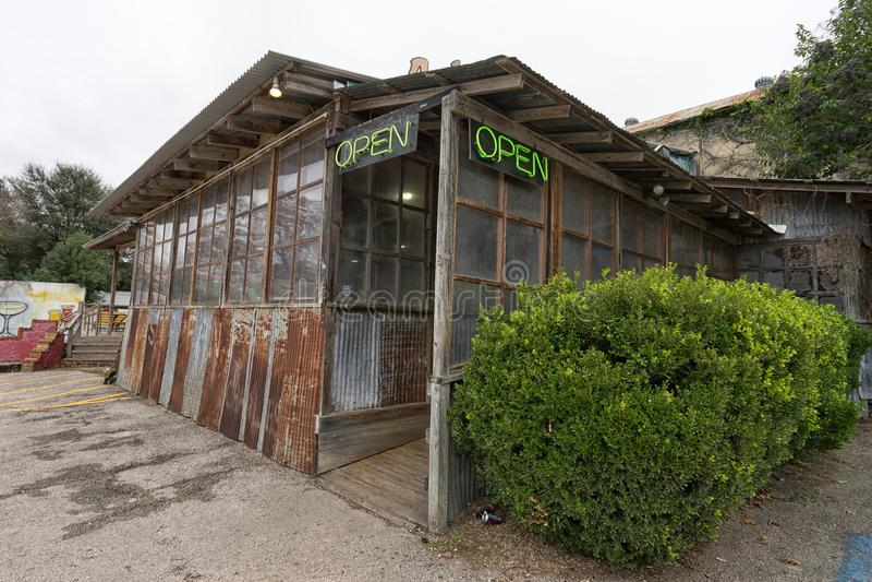 Rustic restaurant building in Gruene Texas stock photos
