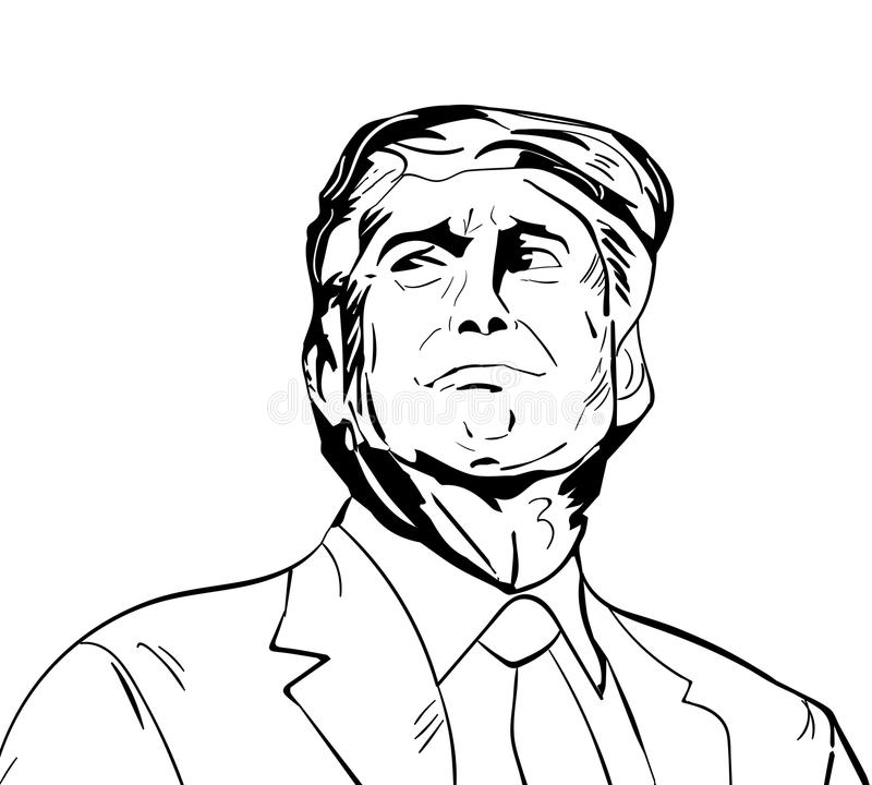 January 25, 2017: illustration of american president Donald Trump done in hand draw style stock illustration