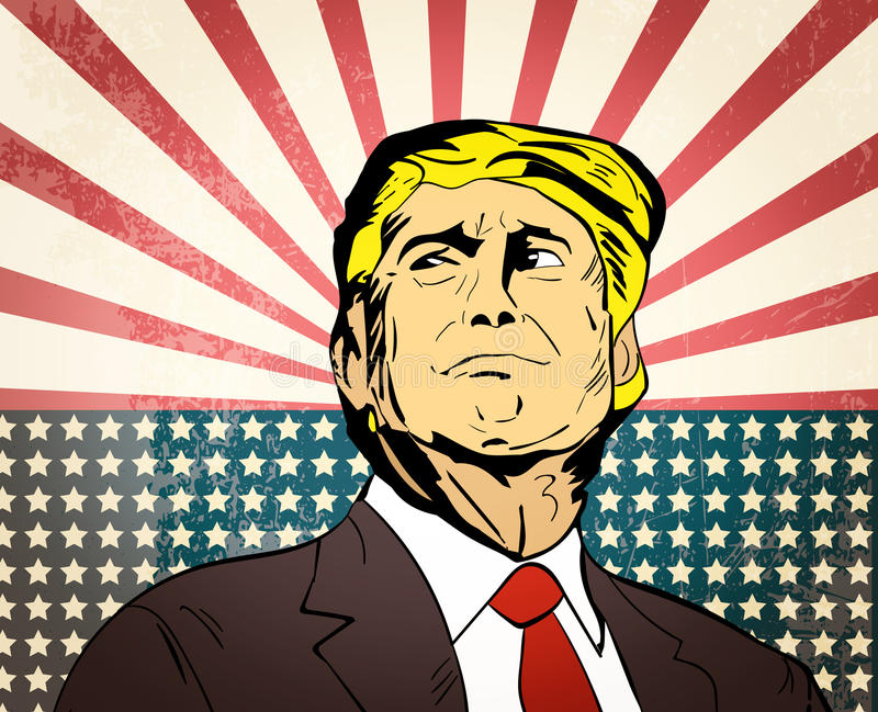 January 25, 2017: illustration of american president Donald Trump on national flag background done in hand draw style stock illustration