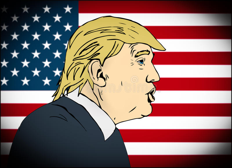 January 25, 2017: illustration of american president Donald Trump on national flag background done in hand draw style royalty free illustration