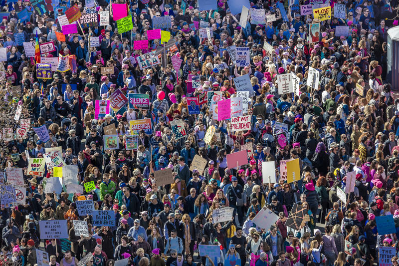 JANUARY 21, 2017, LOS ANGELES, CA. Aerial View of 750,000 participate in Women's March, activists protesting Donald J. Trump in na stock images