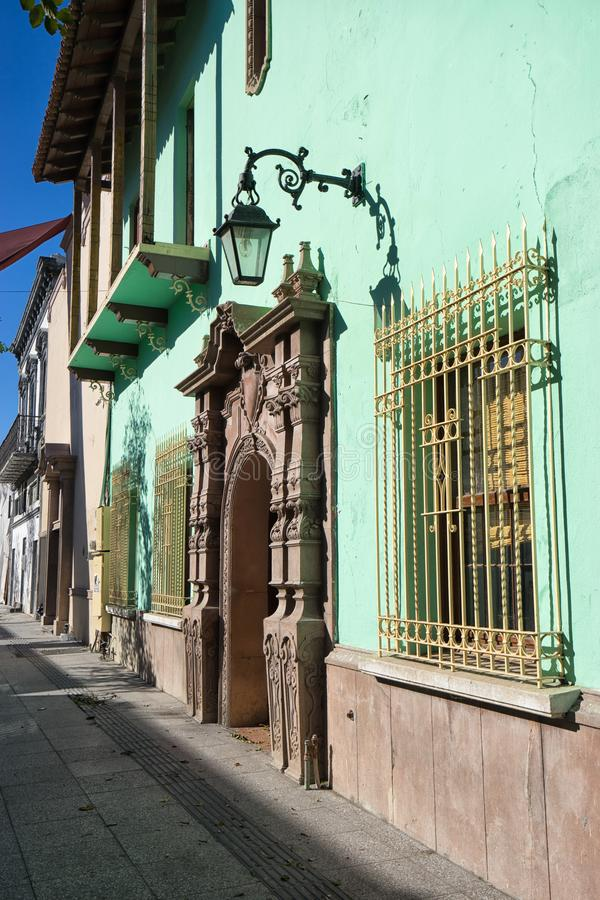 Colourful colonial architect in Monterrey, Mexico. January 16, 2016 Monterrey, Mexico: colourful colonial architecture in the historic old town called `Barrio royalty free stock images