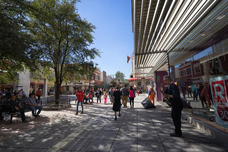 Plaza Morelos shopping area Monterrey Mexico. January 16, 2016 Monterrey, Mexico: people walk in the Plaza Morelos shopping area in the business centre of the royalty free stock photography