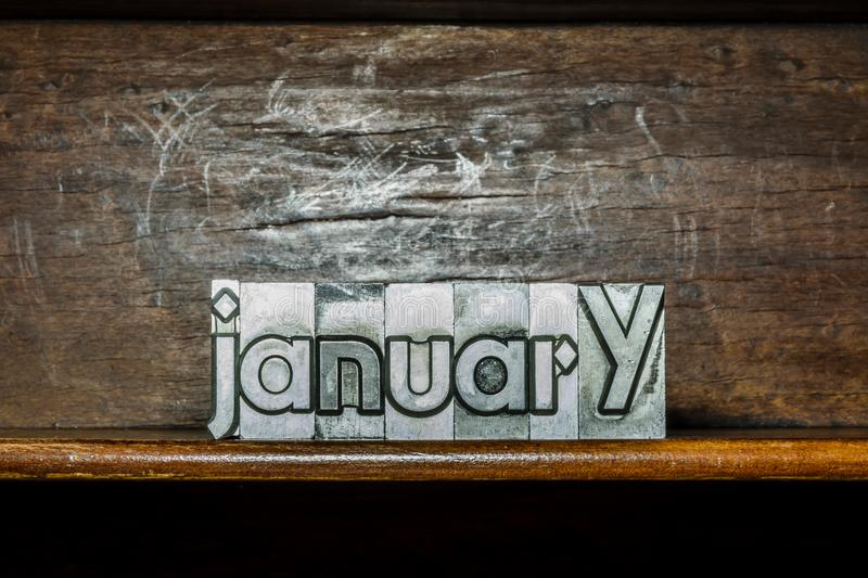 The month of the year January created with movable type printing. January month created with movable type printing stock images