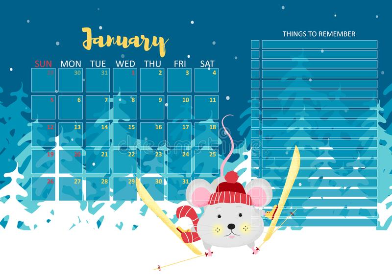 January month 2020 template design royalty free illustration