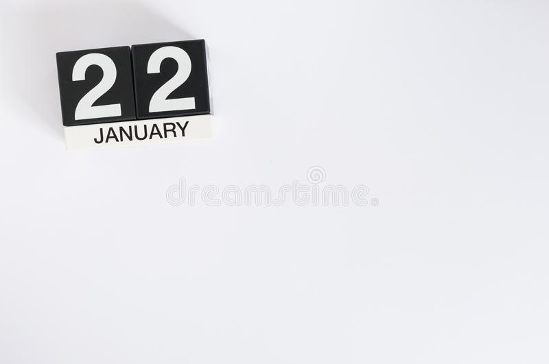 January 22nd. Day 22 of month, calendar on white background. Winter concept. Empty space for text. January 22nd. Day 22 of month, calendar on wooden background royalty free stock image