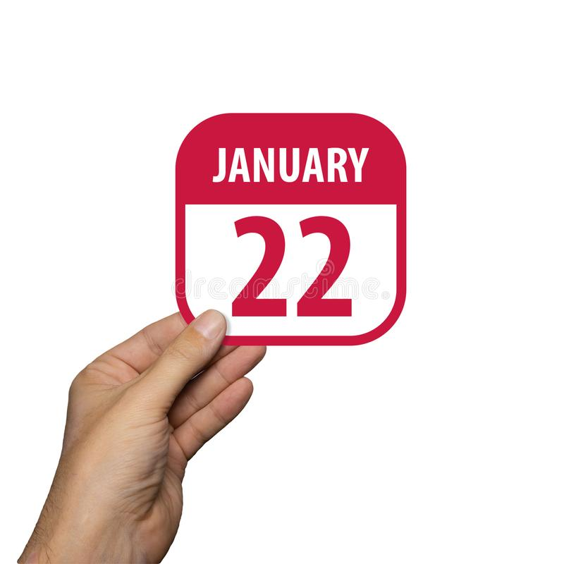 January 22nd. Day 22 of month,hand hold simple calendar icon with date on white background. Planning. Time management. Set of. January 22nd. Day 22 of month stock images