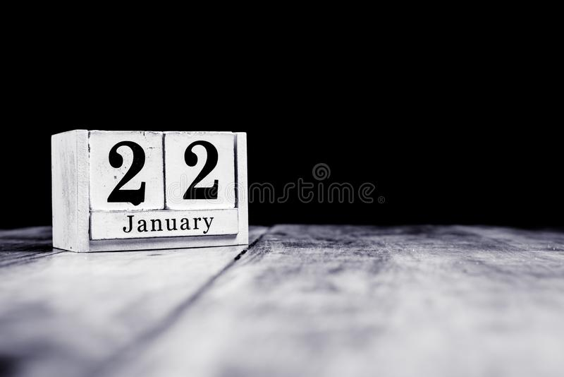 January 22nd, 22 January, Twenty Second of January, calendar month - date or anniversary or birthday stock photo