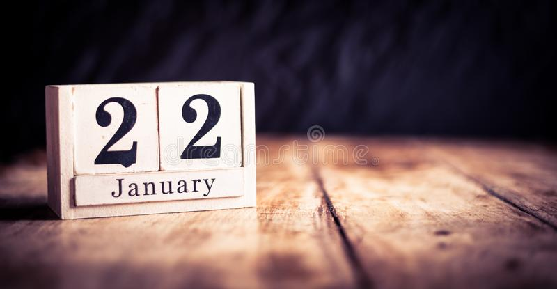 January 22nd, 22 January, Twenty Second of January, calendar month - date or anniversary or birthday stock photography