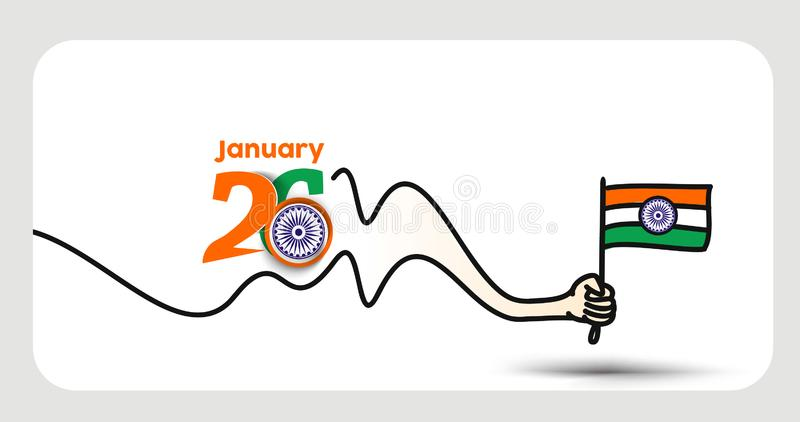 26 january Republic day concept hand holding indian flag royalty free illustration