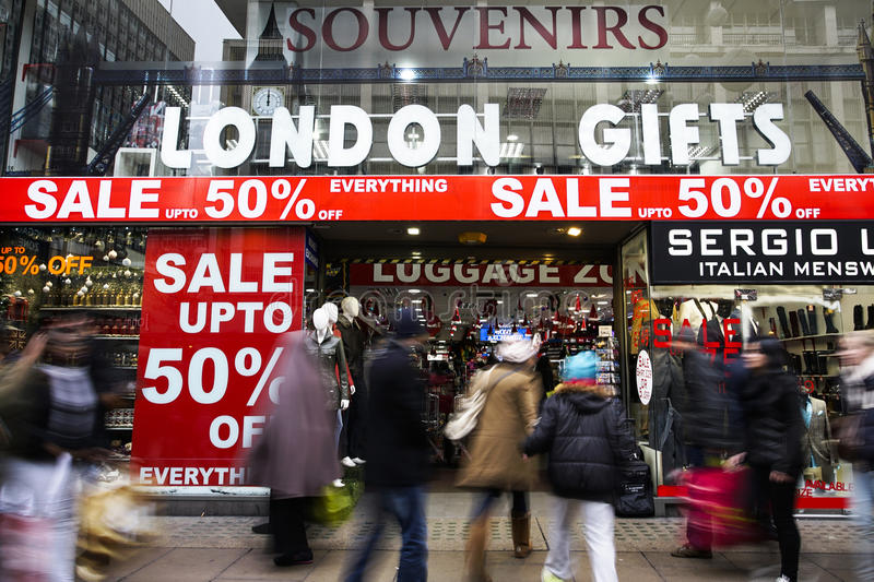 January sale, Oxford Street, London. London, UK - January 19, 2015: The famous Oxford Street, people present, pack with crowds of tourists and locals doing their stock photo