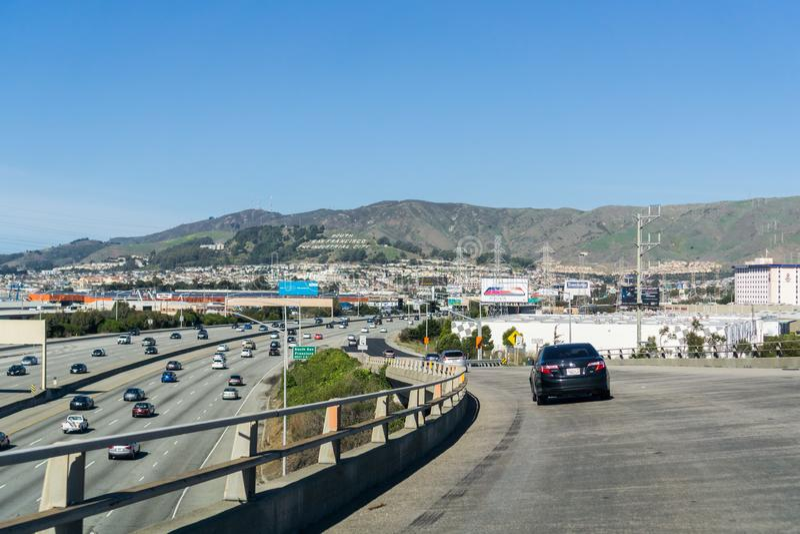 January 20, 2018 San Francisco / CA / USA - Highway junction in South San Francisco, California royalty free stock photo