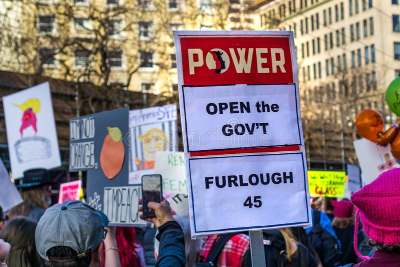 January 19, 2019 San Francisco / CA / USA - Women`s March shutdown related sign stock images