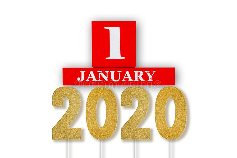January 1st of the year 2020 concept. stock illustration