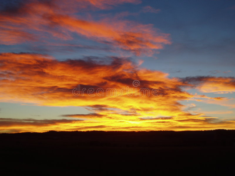 January sunset royalty free stock photography