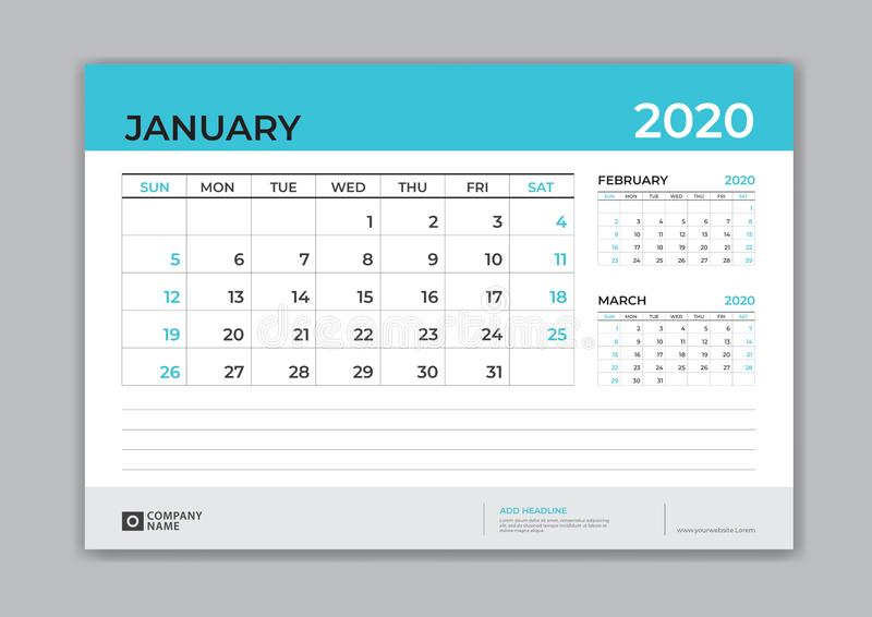 January 2020 template, Desk Calendar for 2020 year, week start on sunday, planner design, stationery, business printing royalty free illustration