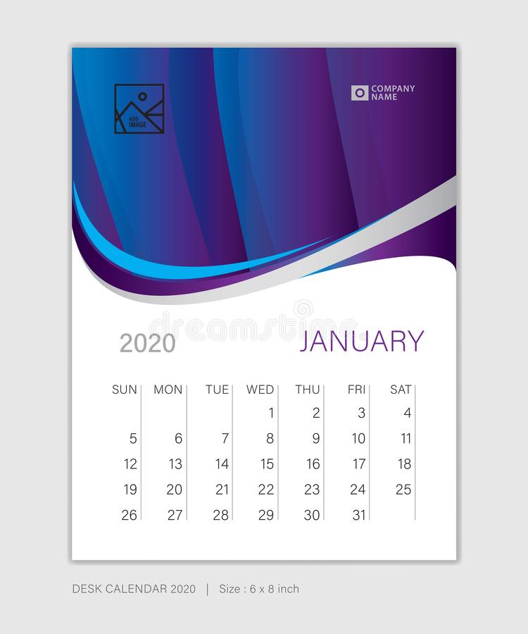 January 2020 template, Desk Calendar for 2020 year, week start on sunday, planner design, stationery. Business printing, vertical vector eps10, purple abstract stock illustration