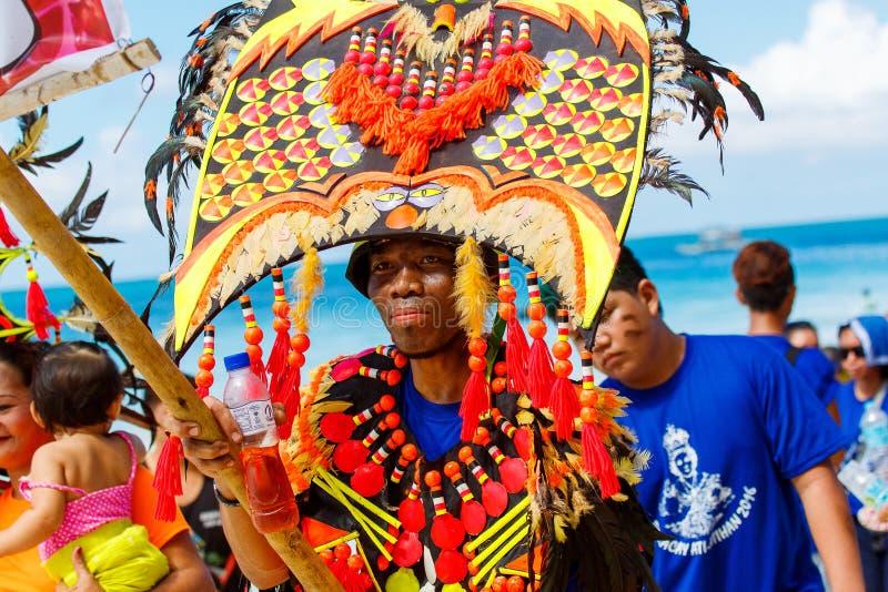 January 10th 2016. Boracay, Philippines. Festival Ati-Atihan. U. Nidentified people on parade in carnival costumes. Documentary Editorial Image royalty free stock image